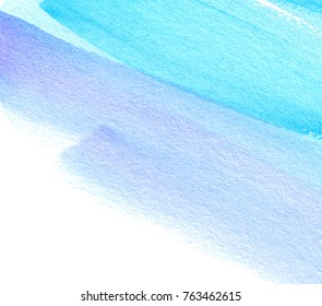 Striped abstract watercolor hand drawn colorful vector card for greeting, poster, wallpaper. Blue violet white color paper texture drawing artistic vivid grunge background for design
