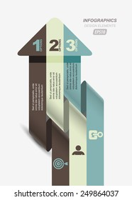 striped arrow twisted up business infographic template