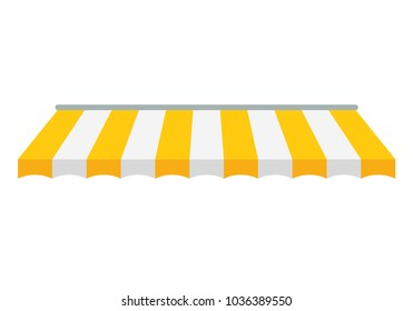 Striped awning, canopy for the store. Awning for the cafes and street restaurants. Vector illustration isolated on white background.
