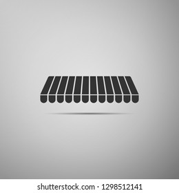 Striped awning icon isolated on grey background. Outdoor sunshade sign. Awning canopy for shops, cafes and street restaurants. Flat design. Vector Illustration