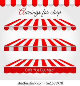 Striped Awning Tent for Shop in Different Forms. Roof Canopy. Red and White Striped Awning with Sample Text. Cafe or Market Tent, Design Decoration Element. Striped Awning Border. Design Element Set.