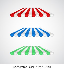 Striped awning vector for stores, restaurants, cafe advertising posters and banners isolated on white. Front shop representation, typical vitrine three dimensional element. Fabric tent installation.