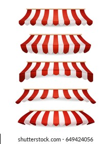 Striped Awnings For Market Store/ Illustration of a set of striped awnings for shop and market store