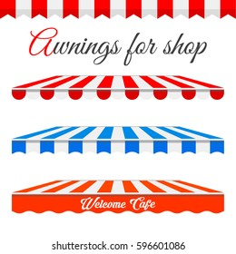 Striped Awnings for Shop in different forms. Red and white border with sample text. Red and White, Blue and white Awnings isolated on a white background. Building design elements.