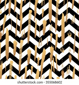 Striped background with gold brush strokes and black and white stripes chevrons. Hand drawn ink background. Fashion trendy wallpaper. Gradient seamless pattern. Modern painted card