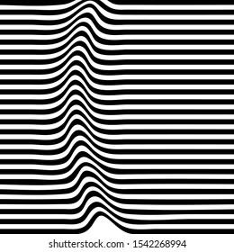 Striped background. Wave trough zebra black white lines. Vector texture illustration. Distortion volume effect on regular surface.