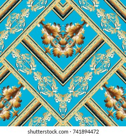Striped baroque seamless pattern. Light blue floral background wallpaper illustration with vintage gold damask flowers, leaves, stripes, frames, rhombus, geometric shapes.Surface luxury vector texture
