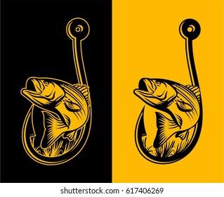 Striped Bass Fishing Illustration Logo