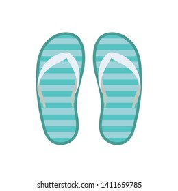 striped beach sandals on white background