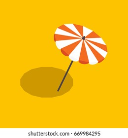 striped beach umbrella isolated with shadow, vector illustration in a flat style, isometric opened a beach umbrella on a yellow background with shadow