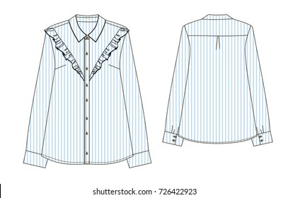 striped  blouse with Ruffels with long sleeve. Fashion Illustration back and front part technical sketch