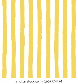 Striped bright yellow seamless pattern on white. Simple textured background grunge effect. Vertical watercolor lines. Hand drawn scandinavian style vector illustration for banner, textile, wall design