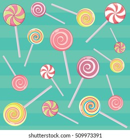 Striped candy canes and candy on a stick without the wrapper. Dessert, Christmas sweets and food. Vector illustration.
