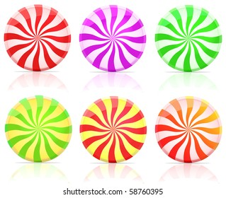 striped candy.  lollipop set isolated on white background