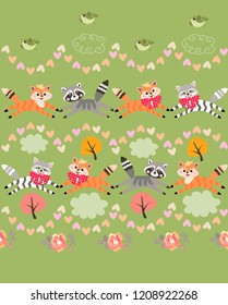 Striped cats, funny little foxes and cute raccons playing on green grass background among small birds, rose flowers, autumn trees, garlands of hearts and clouds. Seamless pattern in vector.