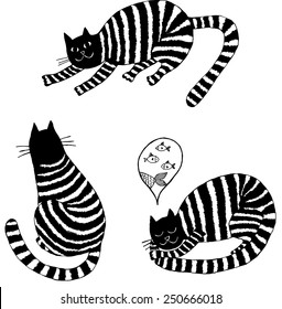 Striped cats. Hand-drawn illustration.