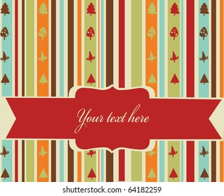 Striped christmas background with banner