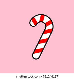 Striped christmass candy cane on pink background. Vector decoration candycane.
