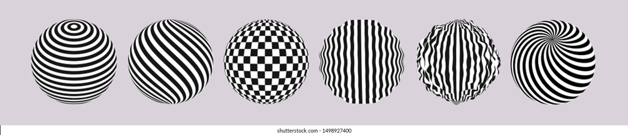 Striped circles set. Black and white 3d art.  Pattern with optical illusion. 3D vector illustration for advertising, marketing and presentation.