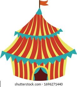 Striped circus tent. Cartoon circus tent