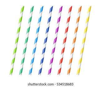 Striped colorful drinking straws vector illustration