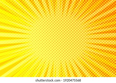 Striped colorful rays background. Pop art creative concept colorful comics book magazine cover. Cartoon halftone retro pattern. Abstract template design for poster, card, sale banner, empty bubble.