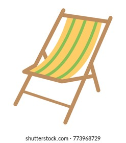 A striped deck chair flat vector icon design