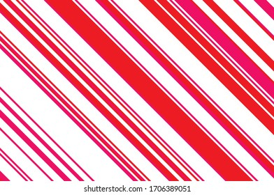 Striped diagonal pattern. Christmas colors. Texture of Christmas canes and lollipops. Bright festive backdrop. Vector illustration.