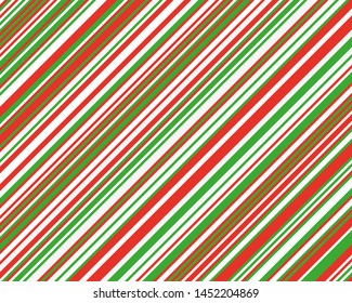 Striped diagonal pattern for printing on fabric, paper, wrapping, scrapbooking, websites Background with red, green and white slanted lines Vector illustration