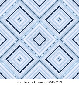 Striped diagonal rectangle seamless pattern. Square rhombus lines with torn paper effect. Ethnic background. Blue, rosy, gray colors. Vector