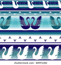 Striped effortless borders with stylized geese and traces (vector)