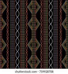 Striped ethnic embroidery seamless pattern. Modern abstract grunge background. Geometric tapesrty ornaments. Tribal embroidered pattern. Design with rhombus, shapes, waves, lines, stripes, borders