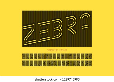Striped font design, alphabet letters and numbers vector illustration