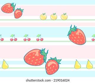 Striped fruit pattern. Strawberry