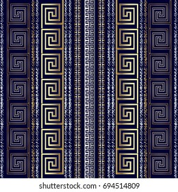 Striped geometric greek seamless pattern border wallpaper with gold 3d abstract grunge chalk vertical stripes, shapes and greek key meander ornaments. Vector striped background. Rich design for fabric