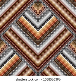 Striped geometric seamless borders pattern. Patterned tiled rhombus, lace lines, ornate 3d tracery stripes, lattice shapes, meander, greek key ornament. Modern 3d background wallpaper. Surface texture