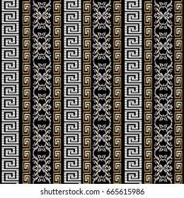 Striped geometric seamless pattern with vertical gold 3d greek key and vintage baroque damask ornaments. Modern black vector background wallpaper with surface antique ornamental gold silver stripes..
