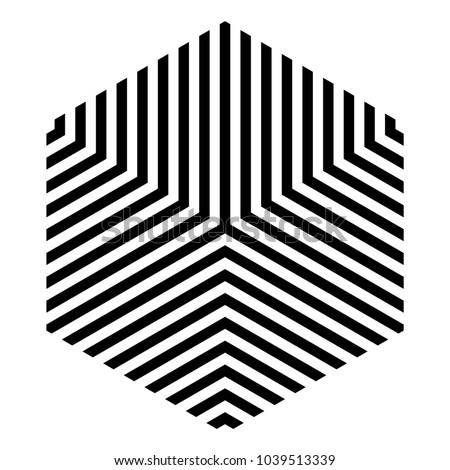 Striped Hexagon Black White Monochrome Isometric Stock Vektorgrafik