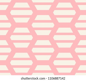 Striped hexagon seamless pattern. Geometrical background. Vector illustration.
