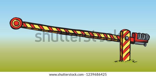 Striped Highway Crossroad Access Hurdle Post Stock Vector
