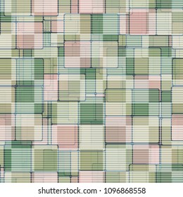 Striped mesh lies on a square camouflage. A hodgepodge of color. Seamless texture. Editable pattern.
