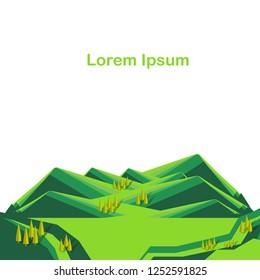 Striped mountain green landscape bellow, Lorem ipsum, modern flat design element for web, for print