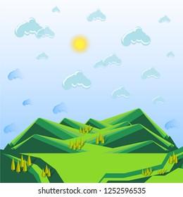 Striped mountain green landscape, blue sky, clouds, yellow sun, Lorem ipsum, modern flat design element for web, for print