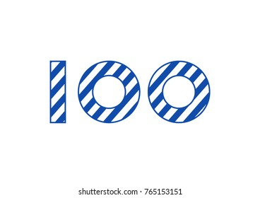 Striped number 100 - Finland independence day