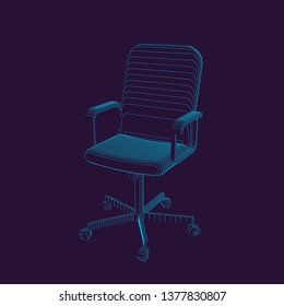 Striped Office chair. Vector contour illustration.