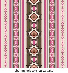 Striped ornamental ethnic seamless pattern