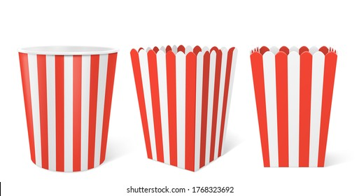 Striped paper box for popcorn isolated on white background. Vector realistic mock up of empty white and red bucket for pop corn, blank square and round pack for chicken, potato and snack in cinema