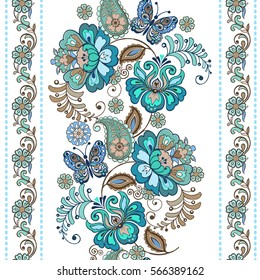 Striped pattern with flowers. Fantastic floral seamless ornament with decorative butterflies. Vintage flowers seamless ornament in blue colors. Floral wallpaper.