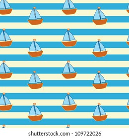 striped pattern with little ships