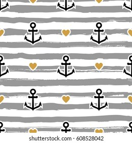 Striped pattern marine. Anchors and hearts, Trendy vector background